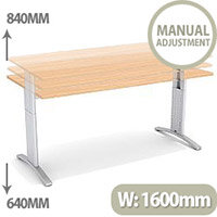Flex R Height-Adjustable Rectangular Desk 1600x800x640-840mm Beech