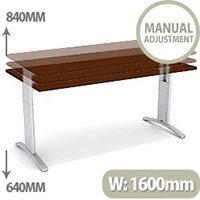 Flex R Height-Adjustable Rectangular Desk 1600x800x640-840mm Walnut