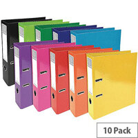 Iderama Lever Arch File 70mm – 10 Pack, Assorted Colours, 2 Rings, 70mm Spine, Water-Resistant, Reinforced Edge, Spine Label & Finger Pull Ring (53629E)