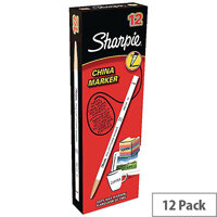 Sharpie China Wax Marker Pencil Peel-off Unwraps to Sharpen White Ref S305061 Pack 12