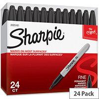 Sharpie Fine Permanent Marker Black Pack of 24 2025161