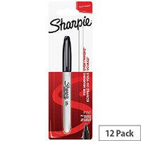 Sharpie 08 Permanent Marker Fine Black Pack of 12 1985857