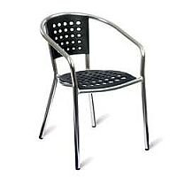 Eva Black and Aluminium Outdoor Stacking Arm Chair