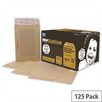 New Guardian Manilla C4 Board Back Envelopes 130gsm Peel and Seal (125 Pack)