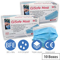 Disposable 3 Ply Protective Filtering Surgical Face Mask Type IIR EN14683 10 Boxes of 50 Masks