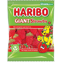 Haribo Giant Strawbs Sweets Share Size Bag 140g Pack of 12 095730