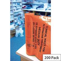 Orange Clinical Waste Medium Duty Sack for Alternative Treatment AT25/M111 8 Rolls x 25 Sacks (200 in Total)