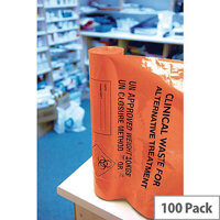 Orange Clinical Waste Heavy Duty Sack for Alternative Treatment AT25/M085 4 Rolls x 25 Sacks (100 in Total)