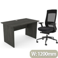 Home Office Ashford Desk W1200xD700mm 25mm Desktop Panel Legs Carbon Walnut & X.22 Posture Office Chair with Unique Mesh Back And Adjustable Lumbar Support Black