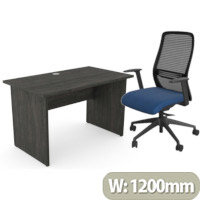 Home Office Ashford Desk W1200xD700mm 25mm Desktop Panel Legs Carbon Walnut & NV Posture Office Chair with Contoured Mesh Back and Adjustable Lumbar Support Black Frame Navy Blue Seat