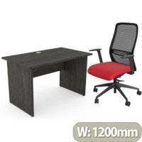 Home Office Ashford Desk W1200xD700mm 25mm Desktop Panel Legs Carbon Walnut & NV Posture Office Chair with Contoured Mesh Back and Adjustable Lumbar Support Black Frame Red Seat