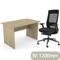 Home Office Ashford Desk W1200xD700mm 25mm Desktop Panel Legs Urban Oak & X.22 Posture Office Chair with Unique Mesh Back And Adjustable Lumbar Support Black
