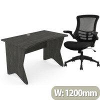 Home Office Medici Desk W1200xD700mm 25mm Desktop & Legs Carbon Walnut & Executive High Back Mesh OP Office Chair - Stylish Design & Great Comfort