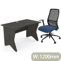 Home Office Medici Desk W1200xD700mm 25mm Desktop & Legs Carbon Walnut & NV Posture Office Chair with Contoured Mesh Back and Adjustable Lumbar Support Black Frame Navy Blue Seat