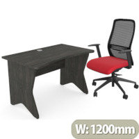 Home Office Medici Desk W1200xD700mm 25mm Desktop & Legs Carbon Walnut & NV Posture Office Chair with Contoured Mesh Back and Adjustable Lumbar Support Black Frame Red Seat