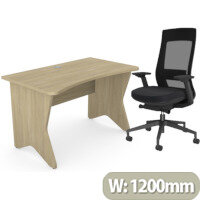 Home Office Medici Desk W1200xD700mm 25mm Desktop & Legs Urban Oak & X.22 Posture Office Chair with Unique Mesh Back And Adjustable Lumbar Support Black