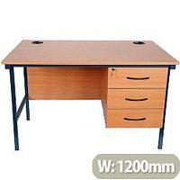 Teachers Desk With 3 Drawer Fixed Pedestal 1200x600x760mm