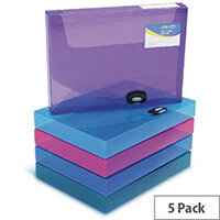 Rapesco Rigid Box File Polypropylene 40mm 1048 Assorted Pack of 5