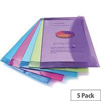 A4 Document Wallet Plastic Transparent Assorted Stud Fastening Pack 5 Elba