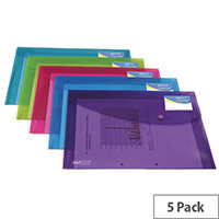 Rapesco ID Popper Wallet Translucent Assorted Pack of 5