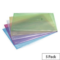 Rapesco Popper Wallet A3 Pastel Assorted Pack of 5