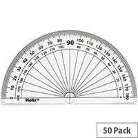 Helix 10cm 180 Degree Protractor Clear