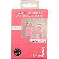 Urban Factory Cable USB to Lightning MFI certified - Pink 1m (retail packaging), 1 m, Lightning, USB A, Pink, Straight, Straight