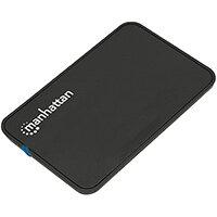 "Manhattan Drive Enclosure, 2.5"", USB-A, 480 Mbps (USB 2.0), SATA, Black, Sturdy, Plastic, Hi-Speed USB, Windows or Mac, Three Year Warranty, Boxed, HDD enclosure, 2.5"", Serial ATA, 0.48 Gbit/s, Hot-swap, Black"