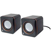 Manhattan 2600 Series Speaker System, Small Size, Big Sound, Two Speakers, Stereo, USB power, Output: 2x 3W, 3.5mm plug for sound, In-Line volume control, Cable 0.9m, Black, Box, 2.0 channels, 5 cm, 6 W, 90 - 20000 Hz, 4 ?, 80 dB