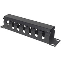 """Intellinet 10"""" Cable Management Panel, 1U, Covered, Black, Cable management panel, Black, Plastic, 1U, 25.4 cm (10""""), 254.4 mm"""