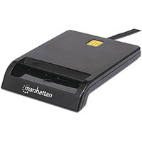 Manhattan USB-A Contact Smart Card Reader, 12 Mbps, Friction type compatible, External, Windows or Mac, Cable 105cm, Black, Blister, Indoor, Black, Activity, Power, 1.05 m, Acrylonitrile butadiene styrene (ABS), 2-line, 3-line, SLE4418, 4428, 4432, 4442,