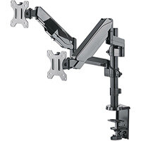 """Manhattan TV & Monitor Mount, Desk, Full Motion (Gas Spring), 2 screens, Screen Sizes: 10-27"""", Black, Clamp or Grommet Assembly, Dual Screen, VESA 75x75 to 100x100mm, Max 8kg (each), Lifetime Warranty, Clamp, 8 kg, 43.2 cm (17""""), 81.3 cm (32""""), 100 x 100"""