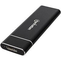 Manhattan M.2 NGFF SSD Enclosure, USB Micro-USB Female Connection, 5 Gbps (USB 3.2 Gen1 aka USB 3.0), UASP-compliant, SuperSpeed USB, Aluminum, Black, Three Year Warranty, Box, SSD enclosure, M.2, Serial ATA III, 6 Gbit/s, Hot-swap, Black