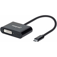 Manhattan USB-C to DVI-I and USB-C (inc Power Delivery), 1080p@60Hz, 19.5cm, Black, Power Delivery to USB-C (60W), Male to Females, Equivalent to Startech CDP2DVIUCP, Compatible with DVD-D, Lifetime Warranty, Box, 1920 x 1200 pixels