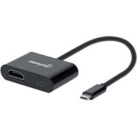 Manhattan USB-C to HDMI and USB-C (inc Power Delivery), 4K@60Hz, 19.5cm, Black, Power Delivery to USB-C Port (60W), Equivalent to Startech CDP2HDUCP, Male to Females, Lifetime Warranty, Retail Box, CE FCC RoHS2 WEEE, Black, Acrylonitrile butadiene styrene