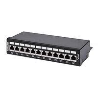 Intellinet Patch Panel, Cat6a, FTP, 12-Port, Desktop, Shielded, 90° Top-Entry Punch Down Blocks, Black, IEEE 802.3,IEEE 802.3ab,IEEE 802.3u, 10/100/1000Base-T(X), 1000 Mbit/s, Gold, Cat6a, 23/24/25/26