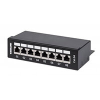 Intellinet Patch Panel, Cat6a, FTP, 8-Port, Desktop, Shielded, 90° Top-Entry Punch Down Blocks, Black, IEEE 802.3,IEEE 802.3ab,IEEE 802.3u, 10/100/1000Base-T(X), Gigabit Ethernet, 1000 Mbit/s, Gold, Cat6a