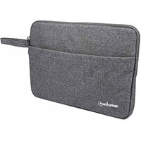 """Manhattan Seattle Laptop Sleeve 14.5"""", Grey, Padded, Extra Soft Internal Cushioning, Main Compartment with double zips, Zippered Front Pocket, Carry Loop, Water Resistant and Durable, Notebook Slipcase, Three Year Warranty, Sleeve case, 36.8 cm (14.5""""), 2"""