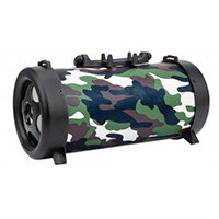 Manhattan Camouflage Bluetooth Speaker (promo), 3 hour Playback time, FM Radio, Range 10m, microSD card reader (32GB), Aux 3.5mm connector, Output 3W, USB-A charging cable included (5V charging), 1200mAH battery, Bluetooth v5, Boxed, Neodymium, 4 cm, 3 W,