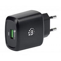 Manhattan Wall/Power Charger (Euro 2-pin), USB-A Port, Output: 1x 18W (Qualcomm Quick Charge), Black, Three Year Warranty, Box, Indoor, AC, 12 V, Black