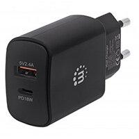 Manhattan Wall/Power Charger (Euro 2-pin), USB-C & USB-A ports, USB-C up to 18W / 3A, USB-A up to 5V / 2.4A, Black, Three Year Warranty, Box, Indoor, AC, 12 V, Black