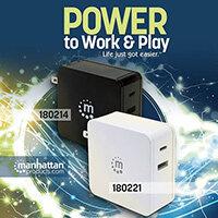 Manhattan Wall/Power Charger (Euro 2-pin), USB-C and USB-A ports, USB-C Output: 60W / 3A, USB-A Output: 2.4A, Black, Three Year Warranty, Box, Indoor, AC, 20 V, Black