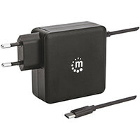 Manhattan Wall/Power Charger (Euro 2-pin), USB-C and USB-A ports, USB-C Output: 60W / 3A, USB-A Output: 2.4A, USB-C 1m Cable Built In, Black, Three Year Warranty, Box, Indoor, AC, 20 V, 3 A, Black