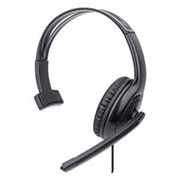 Manhattan Mono Over-Ear Headset (USB), Microphone Boom (padded), Retail Box Packaging, Adjustable Headband, In-Line Volume Control, Ear Cushion, USB-A for both sound and mic use, cable 1.5m, Three Year Warranty, Headset, Head-band, Office/Call center, Bla
