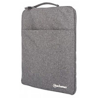 """Manhattan Seattle Laptop Sleeve 15.6"""", Grey, Padded, Extra Soft Internal Cushioning, Main Compartment with double zips, Zippered Front Pocket, Carry Loop, Water Resistant and Durable, Sleeve case, 39.6 cm (15.6""""), 260 g"""