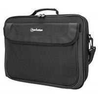 "Manhattan Cambridge Laptop Bag 15.6"", Clamshell Design, Accessories Pocket, Document Compartment on Back, Shoulder Strap (removable), Equivalent to Targus TAR300, Notebook Case, Black, Three Year Warranty, Messenger case, 39.6 cm (15.6""), Shoulder strap,"