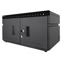Manhattan Charging Cabinet via USB-C x20 Devices, Desktop, Power Delivery 3A/18W per port (360W total), Suitable for iPads/other tablets/phones, Bays 264x22x235mm, Device charging cables not included, Silent Ventilation, Lockable (2 keys), UK 3-pin Plug,