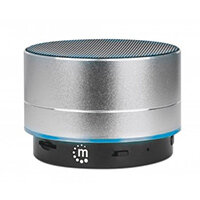 Manhattan Metallic Bluetooth Speaker (promo), Splashproof, Range 10m, microSD card reader, Aux 3.5mm connector, USB-A charging cable included (5V charging), Silver, Wired & Wireless, Micro-USB, Black, Cylinder, Splash proof, IPX4