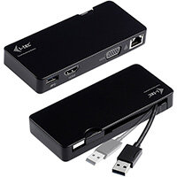 i-tec Advance USB 3.0 Travel Docking Station HDMI or VGA, Wired, USB 3.2 Gen 1 (3.1 Gen 1) Type-A, 10,100,1000 Mbit/s, 10BASE-T,100BASE-TX,1000BASE-T, IEEE 802.3,IEEE 802.3ab,IEEE 802.3u, Black