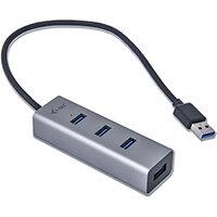 i-tec Metal USB 3.0 HUB 4 Port, USB 3.2 Gen 1 (3.1 Gen 1) Type-A, USB 3.2 Gen 1 (3.1 Gen 1) Type-A, 5000 Mbit/s, Grey, USB, 96 mm
